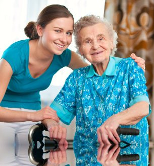 smiling caregiver and senior