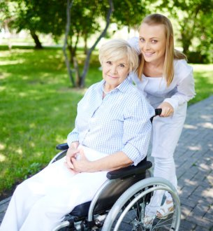 caregiver assisting an senior