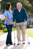 caregiver helping a senior