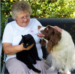 elderly woman with dogs
